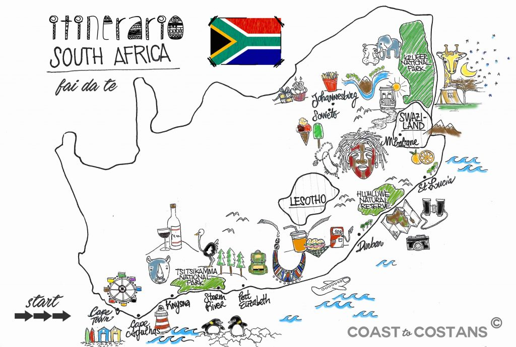 itinerario mappa sudafrica